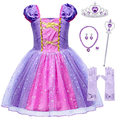 MetCuento Rapunzel Dress for Girls Princess Dress Up Glitter Cosplay Party Halloween Costume Tutu Outfit Size 5 (4-5 Years) Purple