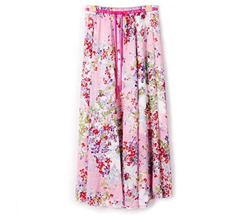 Kaxuyiiy Women's Chiffon Bohemia Floral Elastic Waist Maxi Long Pleated Skirt (Pink Tiny Flowers)