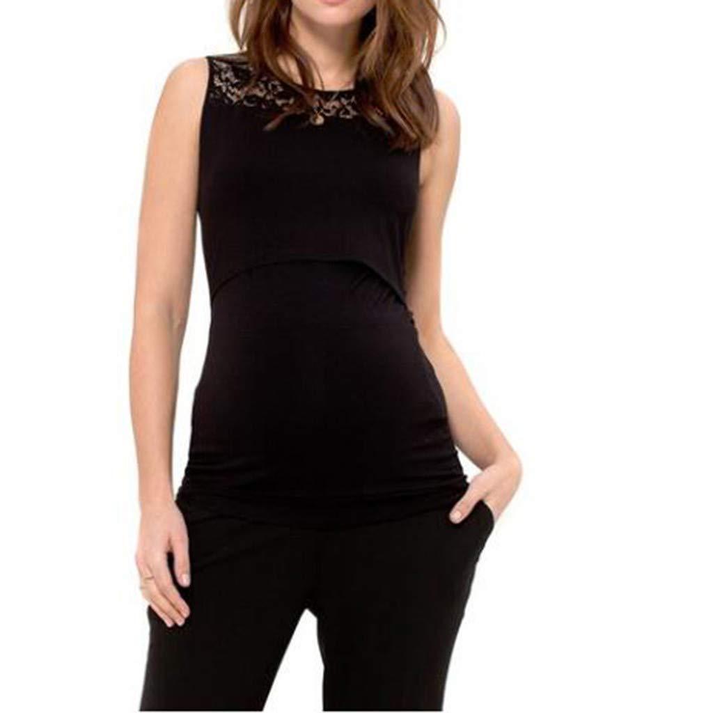 Lenfesh Schwangerschaft Tanktops Damen Maternity Umstands-T-Shirt Spitze Patchwork Tank Top Unterhemd Weste Oberteile Schwangerschaft Umstandsmode Sleeveless Umstandshirt