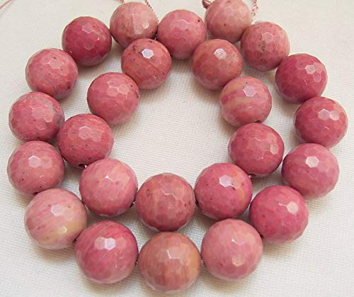 (FidgetFidget 8SE07838a  16MM Rhodonite Faceted Round Beads 15