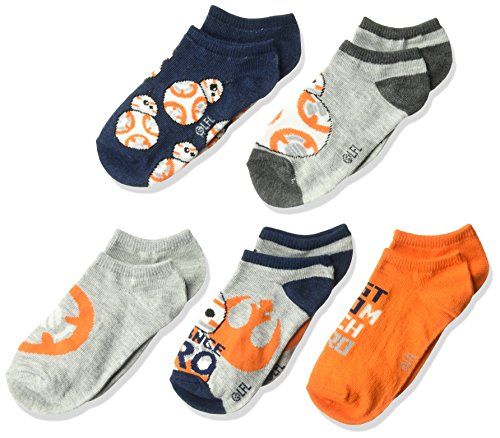 Star Wars Big Episode 8 Boys' 5 Pack No Show, grey assorted, Fits Sock Size 9-11; Fits Shoe Size 4-9