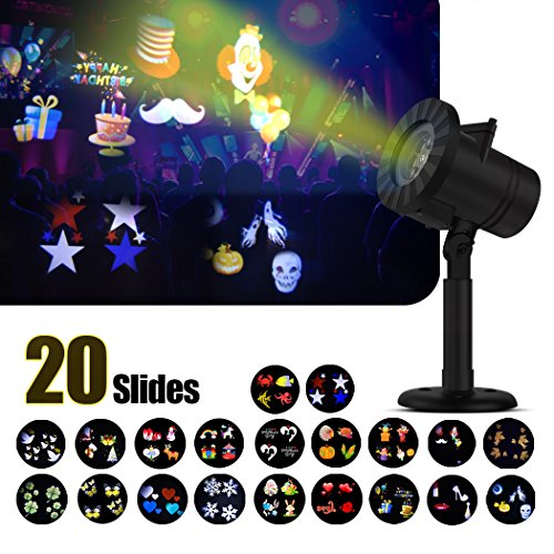 LOOCOOL Outdoor Christmas Decorations LED Projector Light 20 Switchable Slides/Patterns Decorative Light for Party Halloween Holiday,Snowflake Projection Waterproof Lights -