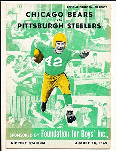 1949 8/20 chicago Bear vs Pittsburgh Steelers football program & roster em