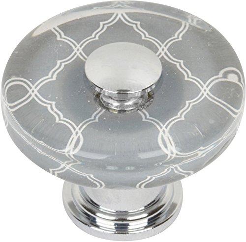 Atlas Homewares 3233-CH Glass Quatrefoil Round Knob, Polished Chrome