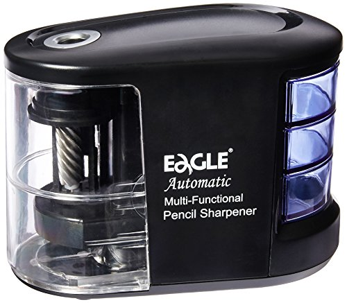 Eagle Automatic Pencil Sharpener - Sundries Organizer - Heavy Duty Helical Blade- Battery Operated