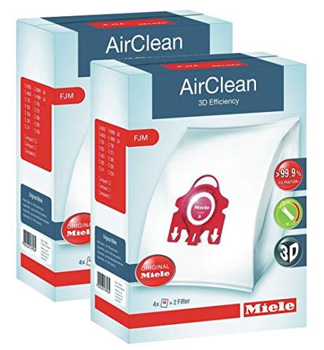 2 X Miele 10123220 AirClean 3D Efficiency Dust Bag, Type FJM, 4 Bags & 2 - Bags Dust Filter
