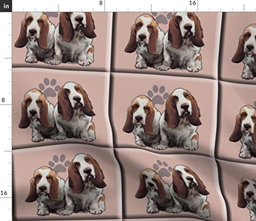 Spoonflower Tiles Fabric - Basset Hound Animals Pets Basset Dog Fabric Dog Breed by Dogdaze Printed on Basic Cotton Ultra Fabric by The Yard