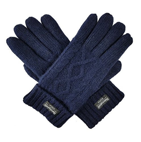 Bruceriver Women's Pure Wool with Thinsulate lining Knitted Gloves Size L (Navy) (Lady In The Navy Gloves)