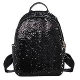 lotus.flower Reversible Dazzling Sequin Faux Leather Backpack Glittery Satchel Fashion Top Handle Shoulder Bag Lightweight Travel Backpack (Black)