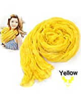 Yellow Women's Long Crinkle Scarf Wraps