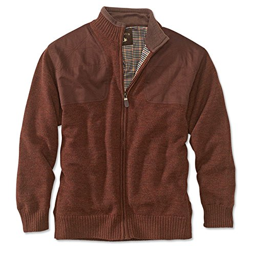 Orvis Men's foul-Weather Lined Sweater, Ginger, (Lined Cardigan Sweater)