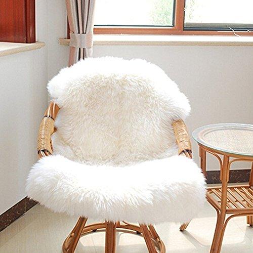 GEZICHTA Super Soft Faux Fur Fake Sheepskin Sofa Couch Casper Vanity Chair Cover Rug Washable Carpet Mat Non Slip Fluffy Rug Mats(White)