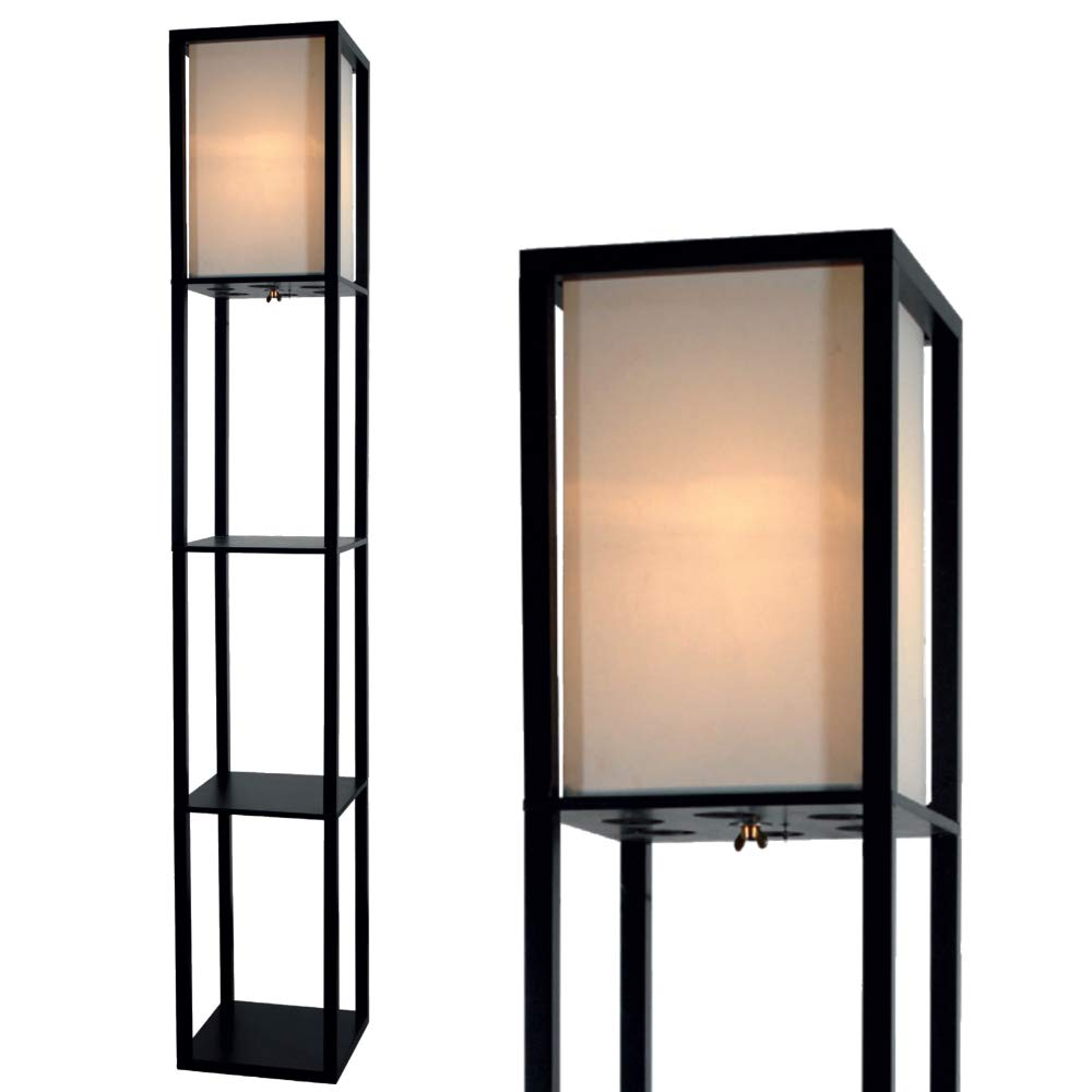 Floor Lamp with Shelves by Light Accents - Shelf Floor Lamp - 3 Shelf Lamp Standing Floor Lamp with Shelves 63'' Tall Wood with White Linen Shade - Lamps for Living Room (Black) by Lightaccents