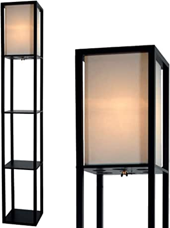 Floor Lamp With Shelves By Light Accents Shelf Floor Lamp 3 Shelf Lamp Standing Floor Lamp With Shelves 63 Tall Wood With White Linen Shade
