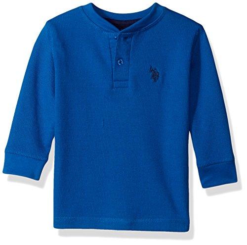 U.S. Polo Assn. Big Boys' Long Sleeve Fancy Henley Thermal Sweatshirt, Blue Tile RG12, 8