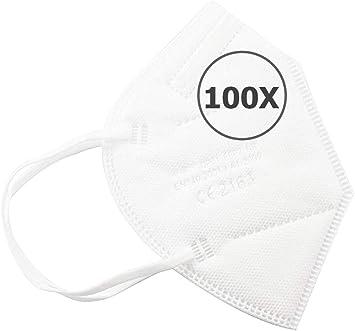 Oferta amazon: TBOC Mascarillas FFP2 - [Pack 100 Unidades] Máscaras Desechables [Color Blanco] 5 Capas [No Reutilizables] Transpirables Plegables con Pinza Nasal [Certificadas y Homologadas CE 2163]