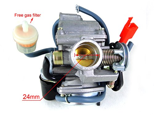 24mm Electric Choke Carburetor for 125cc 150cc GY6 4 Stroke ATV Go Kart Moped Scooter Kazuma TaoTao Roketa JCL Baja Sunl Free Gas Filter