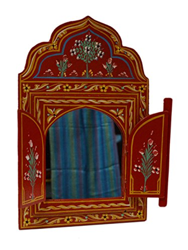 Moroccan Wall Mirror with Doors Hand Painted Arabesque Handmade Decor Small Red