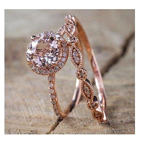 (Promsup Antique 18K Rose Gold Morganite Gemstone Ring Set Wedding Women Jewelry Sz 6-10 (7))