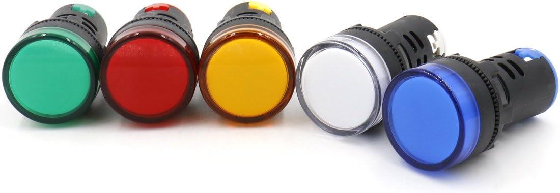 Baomain AD16-22D/S31 24 V 20mA Energy Saving LED Indicator Light Green Yellow Red Blue White 5 Pcs