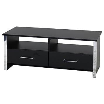 Black TV Cabinet Entertainment Unit With Chrome Trim 2 Drawers