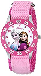 Disney Kids\' W000970 Frozen Snow Queen Watch with Pink Nylon Band