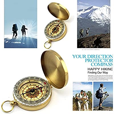 Oldeagle Pocket Brass Watch Style Navigation Compass Ring Keychain For Outdoor Camping Hiking