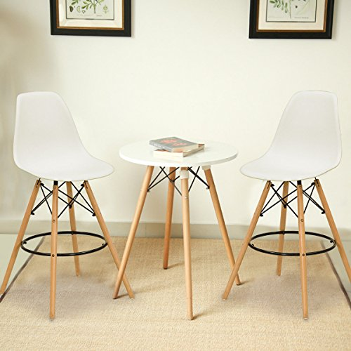 Knoll Bar Stools - Stool Bar, Set of 2 Dining Chair Side Armless Accent Molded Plastic Seat Wooden Legs White
