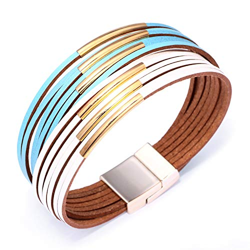 KSQS Boho Multilayer Leather Wrap Bracelets Gorgeous Handmade Braided Wrap Cuff Magnetic Buckle Casual Bangle for Women&Girl Gift ()
