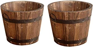 CosCosX 2 Pcs Rustic Wooden Whiskey Barrels Bucket with Handle Flower Planter Plant Pots Boxes Container Water Wishing Well Pail Patio Garden Backyard Primitive Planter Outdoor Indoor Home Decor