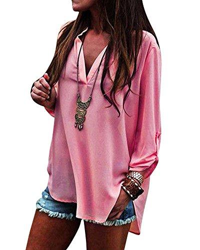 Gasa Mujeres Camisas De Manga Larga V Cuello Camiseta Solidas Tapas De La Blusa Pink