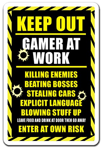 "Keep Out Gamer at Work Sign Xbox ps3 ps4 Playstation Warning | Indoor/Outdoor | 12"" Tall from SignMission"