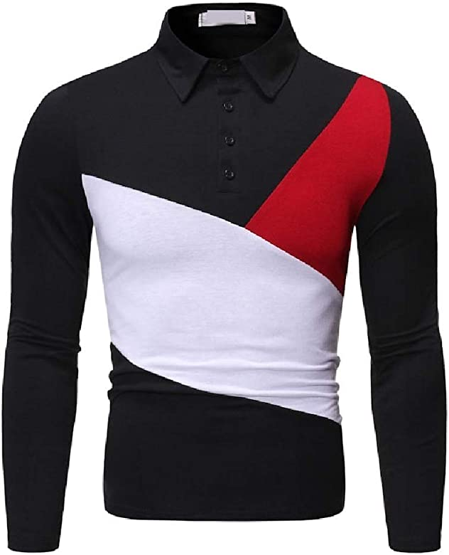 Zimaes-Men Lapel Collar Polo Chic Soft Print Pullover Long-Sleeve Tees Top