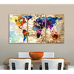 "Original by BoxColors LARGE 30""x 60"" 3 Panels 30""x20"" Ea Art Canvas Print Original Watercolor Texture Map Old brick Wall Full color decor Home interior (framed 1.5"" depth)"