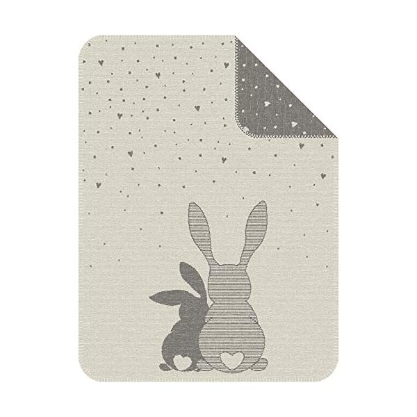 IBENA Adorable 'Best Bunny Friends' Reversible Jacquard Woven Cotton Blend Velour Gender Neutral Baby Blanket with Hearts