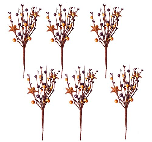 Pip Berry Metal Star Picks Set of 6-9inch Twigs Burgandy & Mustard Color Berries - Mini Artificial Plant Stem for Vases or Crafts - Country Primitive Floral Home Wedding Decor