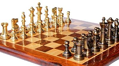 "15"" x 15? Collectible Rosewood Wooden Chess Game Board Set+Brass Crafted Pieces (Delivered Within 7 Days)"