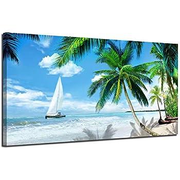 Arjun Canvas Wall Art Tropical Palm Tree Beach Picture Blue Ocean Painting Modern Hawaii Landscape Artwork Prints, 40