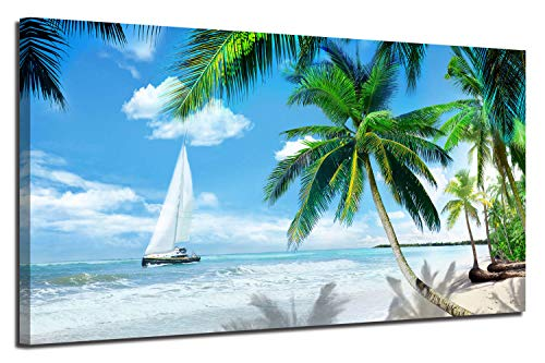 Arjun Canvas Wall Art Tropical Palm Tree Beach Picture Blue Ocean Painting Modern Hawaii Landscape Artwork Prints, 48