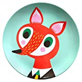 Helen Dardik Melamine Side Plate Orange Fox on Teal