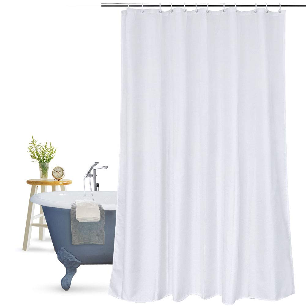 Aoohome Fabric Heavy Duty Shower Curtain, Extra Long Shower Curtain with Weighted Hem for Hotel, Mildew Resistant, Waterproof, 72 x 84 Inch, White
