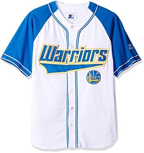 - NBA Golden State Warriors Baseball Inspired Fashion Jersey, X-Large, White