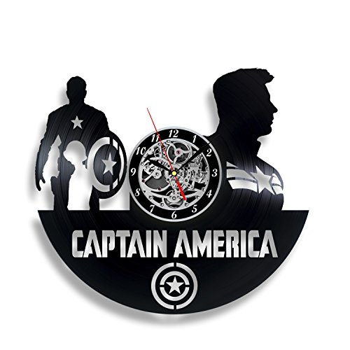 Captain America Vinyl record Wall Clock, Unique Décor for Home or Nursery Room, Gift ideas for kids, children, friends, (Black Widow Avengers Costume Fabric)