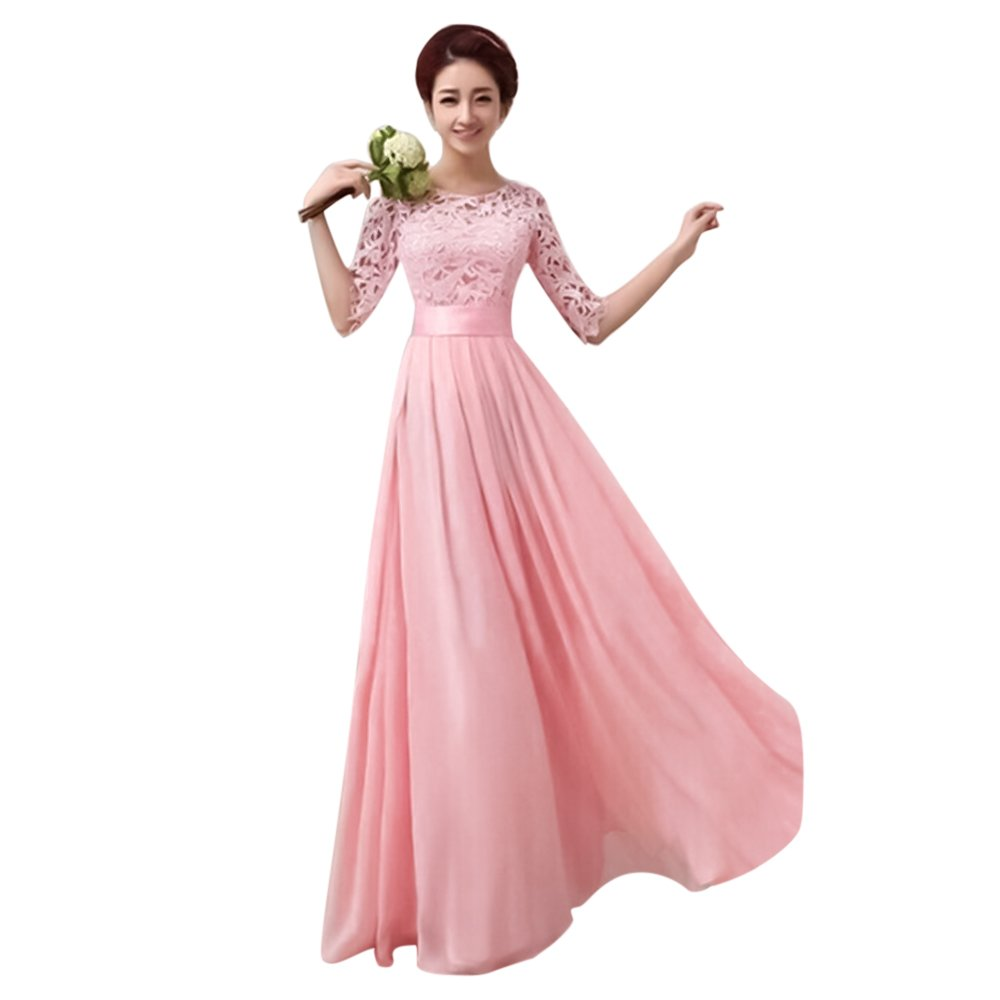 IBTOM CASTLE Women Long Lace Bridesmaid Formal Cocktail Evening Dress