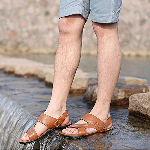 Pelle Grandi Scarpe Open Vera In Di Da Sandali Infradito Toe Uomo Casual Dimensioni Yellow Estate Pantofole Traspirante Da Antiscivolo Spiaggia gSRqnFXwx6