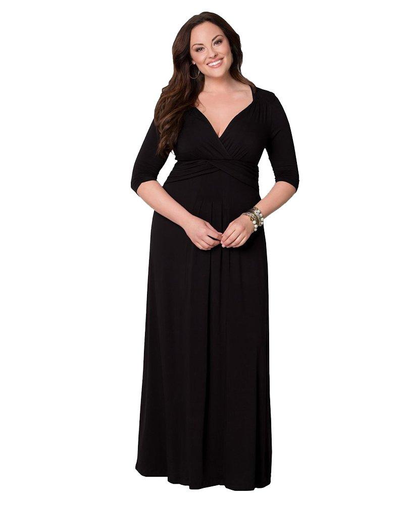 Moollyfox Mujeres Plus Size Color Puro Cuello en V Largo Vestido