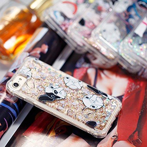 Funda iPhone 7, Suave Funda iPhone 8, Anfire Bling Lentejuelas Líquido Silicona Quicksand Carcasa Gel TPU Bumper Case Flotante Moviendo Estrellas Cubierta Anti-Gota Protectora Caso para iPhone 7 / 8 A Perro