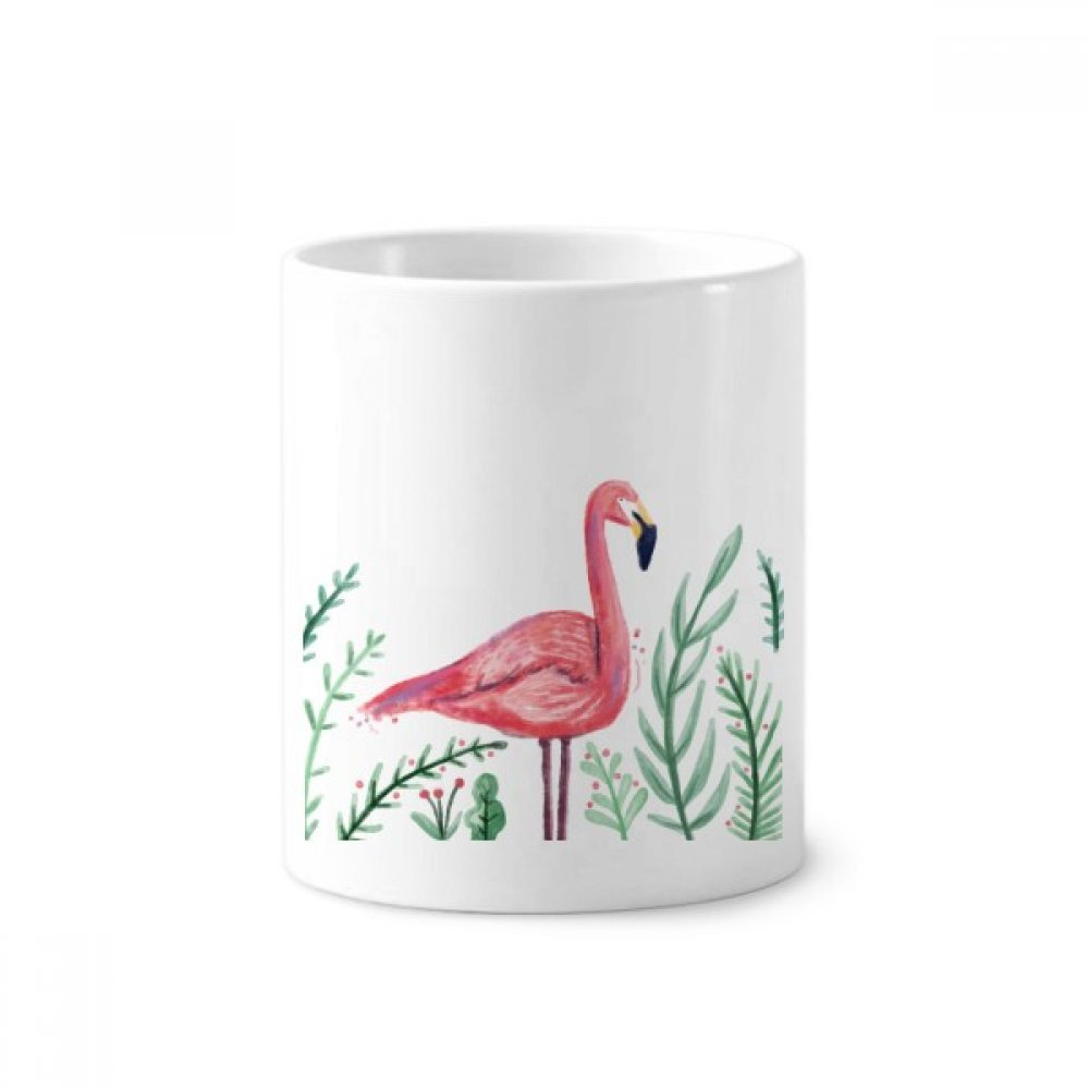Tropical Flamingo Animal Plants Toothbrush Pen Holder Mug White Ceramic Cup 12oz by DIYthinker