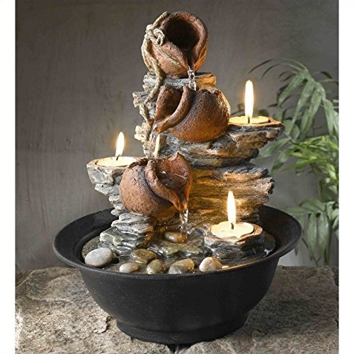 Jeco Tavolo Luci Mini Pot Tabletop Fountain with Candle - Candle Bowl Fountain