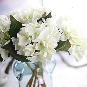 YSBER 3 Big Heads Artificial Hydrangea Silk Fake Flowers Bunch Bouquet Home Hotel Wedding Party Centerpieces Garden Floral Decor(White) 5